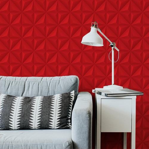 papel de parede adesivo 3d efeito gesso vermelho 3,05 metros