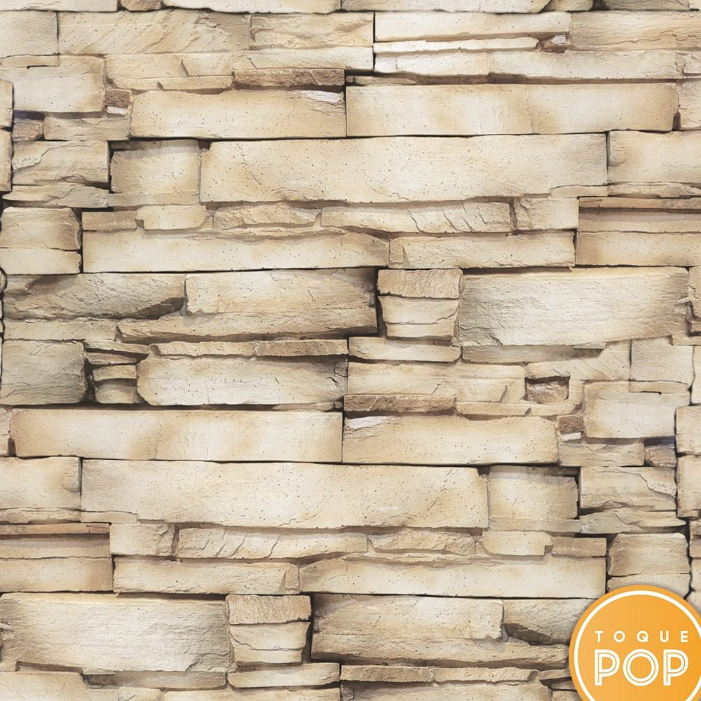 c4cc020bc Papel De Parede Adesivo 3d Pedra Areia Kit 8rolo 2