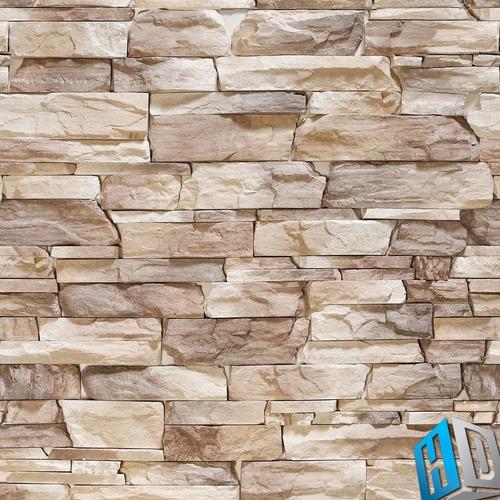 papel de parede adesivo 3d pedras canjiquinhas bege marrom