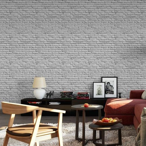 papel de parede adesivo 3d tijolo branco gelo rústico quarto