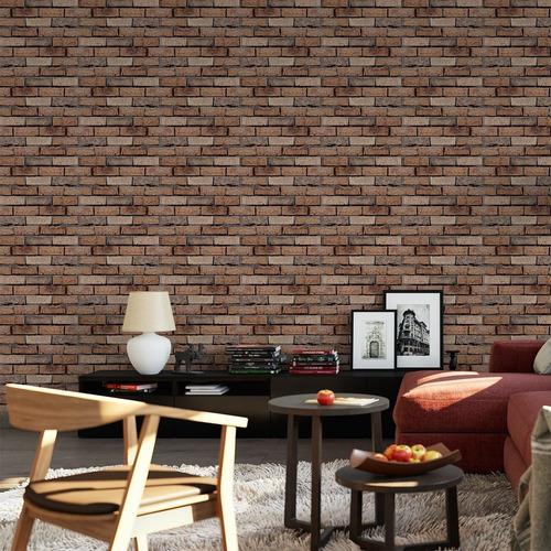 papel de parede adesivo 3d tijolo marrom envelhecido quarto
