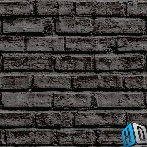 papel de parede adesivo 3d tijolo preto sofisticado sala