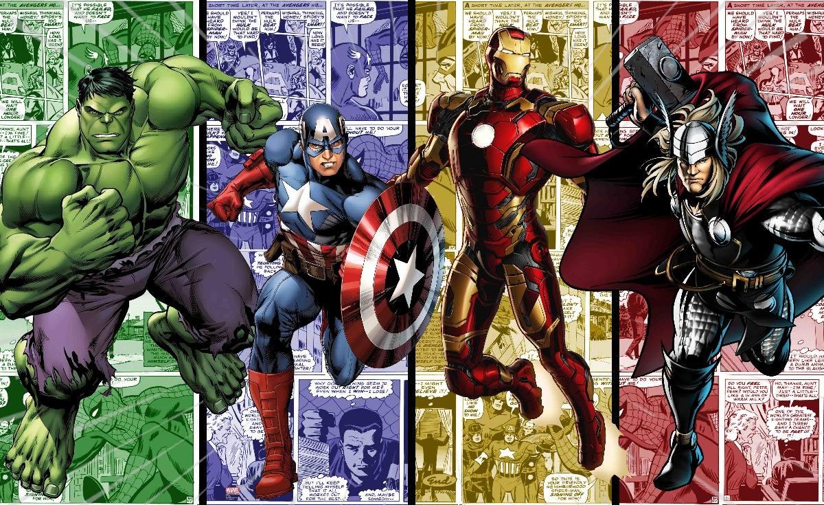 papel de parede adesivo 4 vingadores hulk c america thor hd r