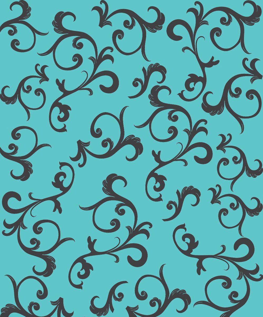 Papel De Parede Adesivo Azul Tiffany Floral Em Preto R 68 00 Em  ~ Papel De Parede Azul Tiffany Quarto