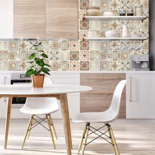 papel de parede adesivo azulejo bege vintage