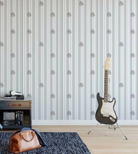 papel de parede adesivo branco e detalhes cinza e azul claro
