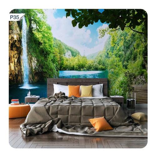 papel de parede adesivo cachoeira lago paisagem natureza p35