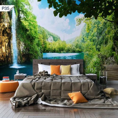papel de parede adesivo cachoeira paisagem p35 - 140 unids
