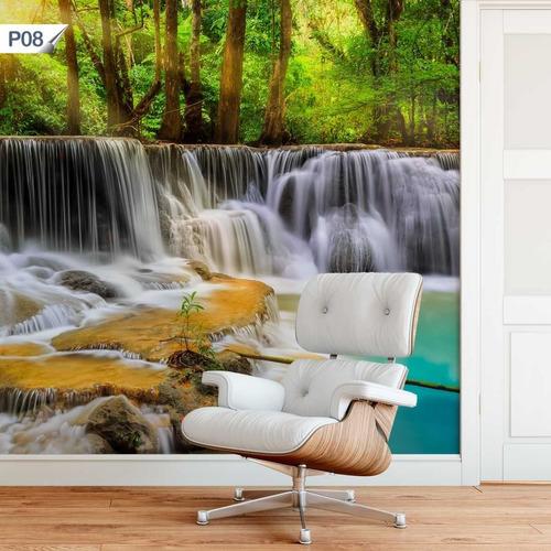 papel de parede adesivo cachoeira paisagem rio p08 - 7 unds