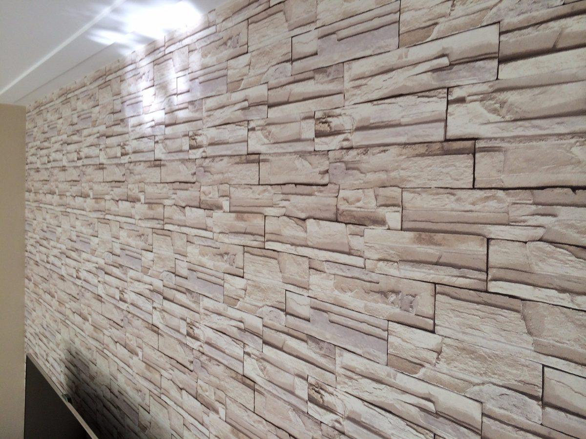 Papel De Parede Adesivo Canjiquinha Pedras Textura Canjica R 15  -> Papel De Parede De Pedra