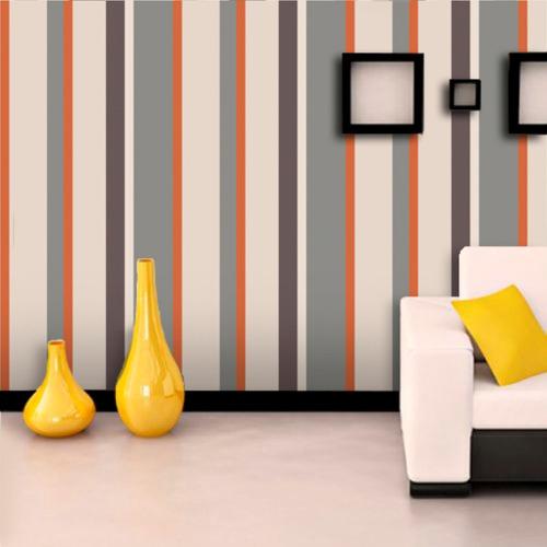 papel de parede adesivo cinza, bege e laranja 3,10m x 58cm