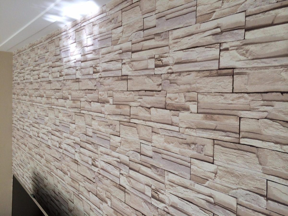 Papel de parede adesivo decorativo pedras madeira 1m x - Papel para paredes ...
