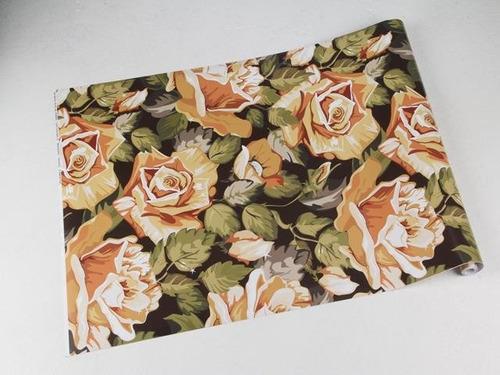 papel de parede adesivo fosco floral laranja e tons nude