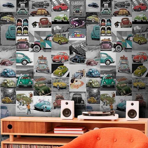 papel de parede adesivo fusca vintage 0,58x3,00m 1 rolo