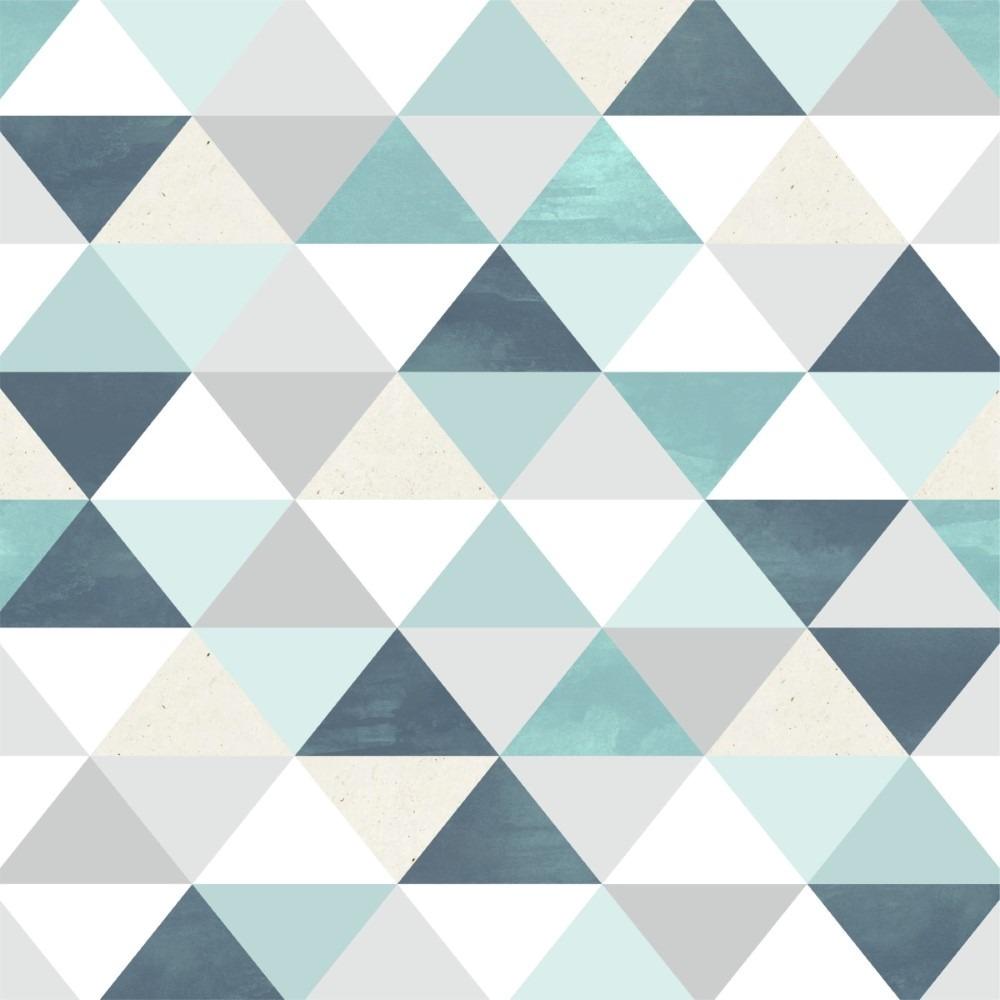 78d944b70 Papel De Parede Adesivo Geométrico Cinza Branco Tons Azuis - R  58 ...