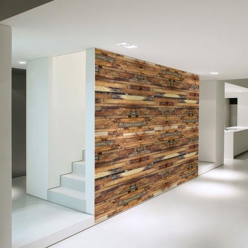 papel de parede adesivo lavável madeira md-06 - 9 unidades