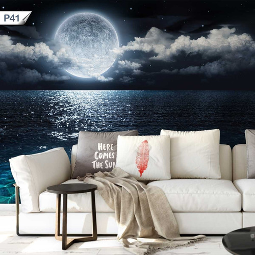 papel de parede adesivo lua cheia paisagem p41 - 9 unids