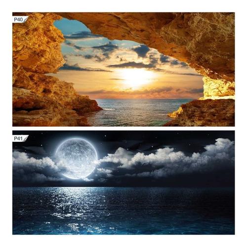 papel de parede adesivo mar lua cheia paisagem natureza p41
