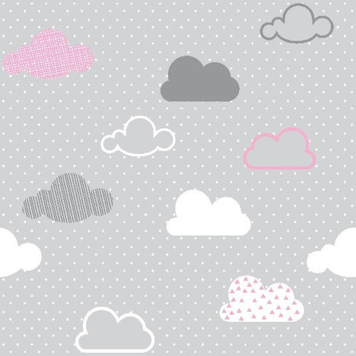 papel de parede adesivo nuvens rosa, branca e cinza 3 metros