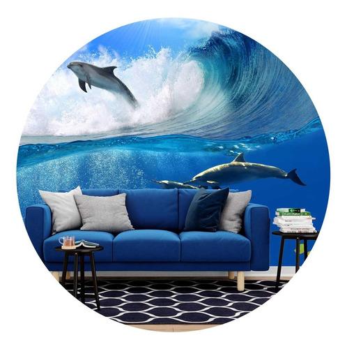 papel de parede adesivo onda golfinhos paisagem natureza p37