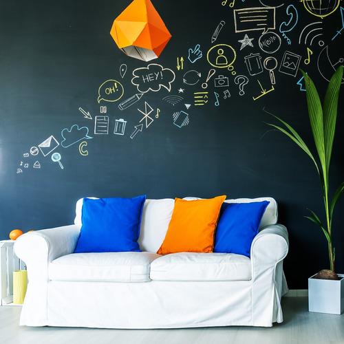 papel de parede adesivo preto fosco para lousa personalizada
