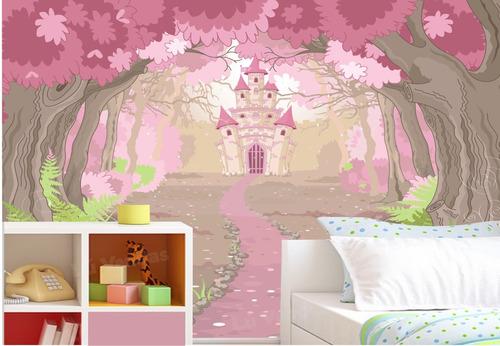 papel de parede adesivo princesa castelo menina infantil m35