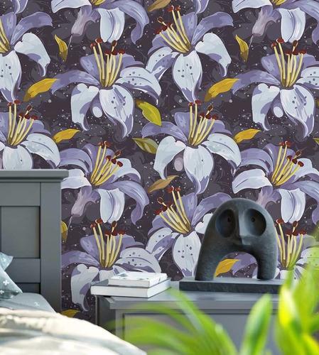 papel de parede adesivo roxo e cinza flores amarelo e roxo