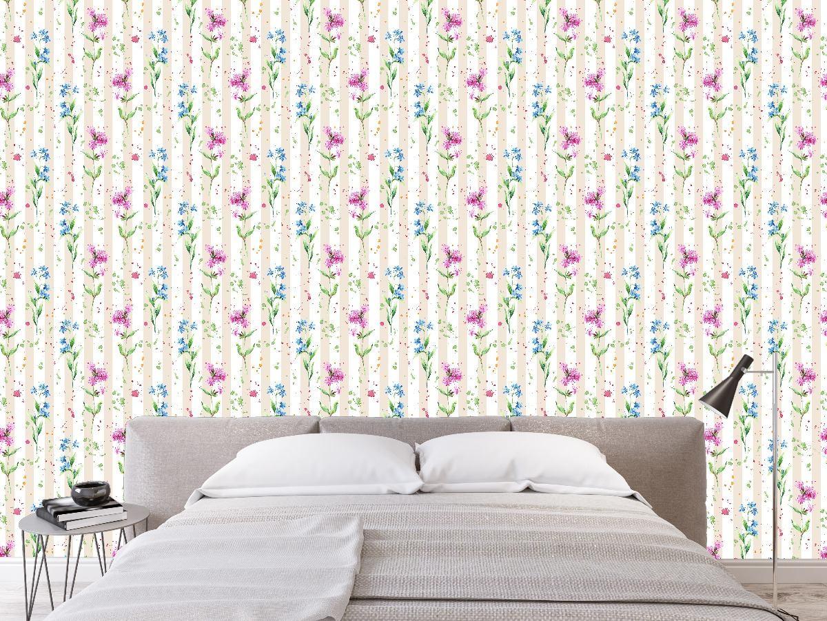 Papel De Parede Adesivo Sala Quarto Flores Floral Rolo 1 50m R 21  -> Papel De Parede Sala Floral