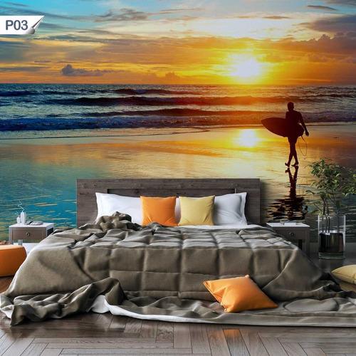 papel de parede adesivo surfista paisagem p03 - 32 unidades
