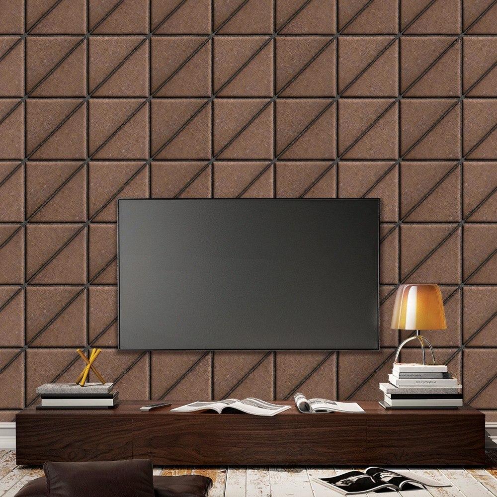 Papel De Parede Adesivo Tijolo Triangular Mosaico Marrom 10m R  -> Tijolo De Vidro Marrom