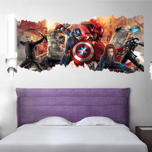 papel de parede adesivo vingadores hulk thor homem de ferro