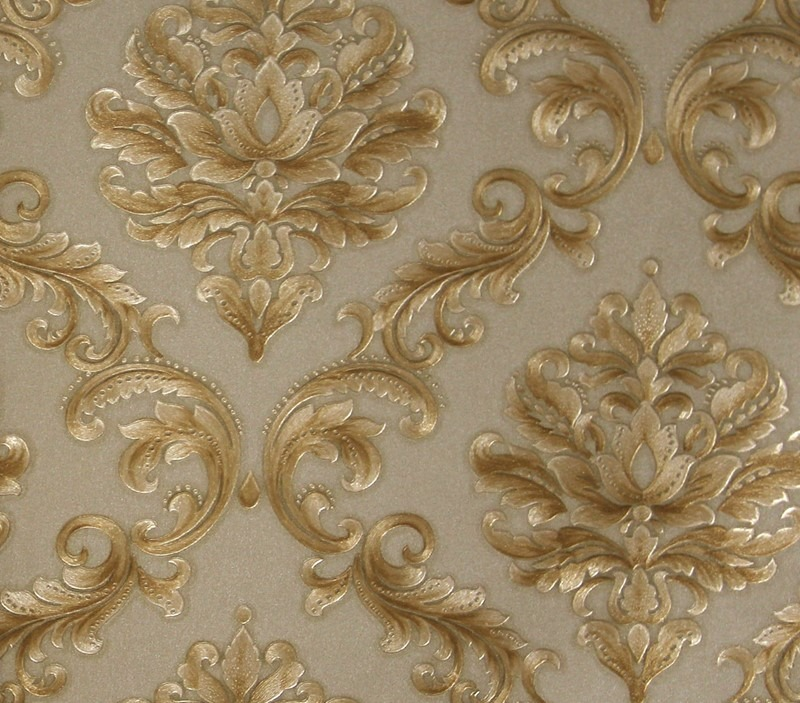 Papel de parede arabesco dourado relevo vin lico kantai - Papel vinilico para paredes ...