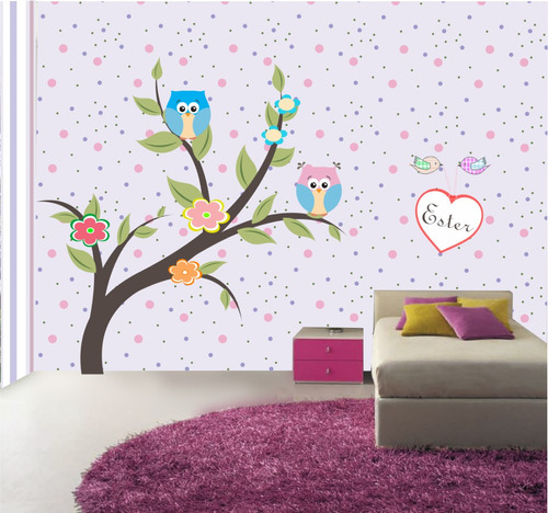 papel de parede auto-adesivo coruja corujinhas menina 7m2