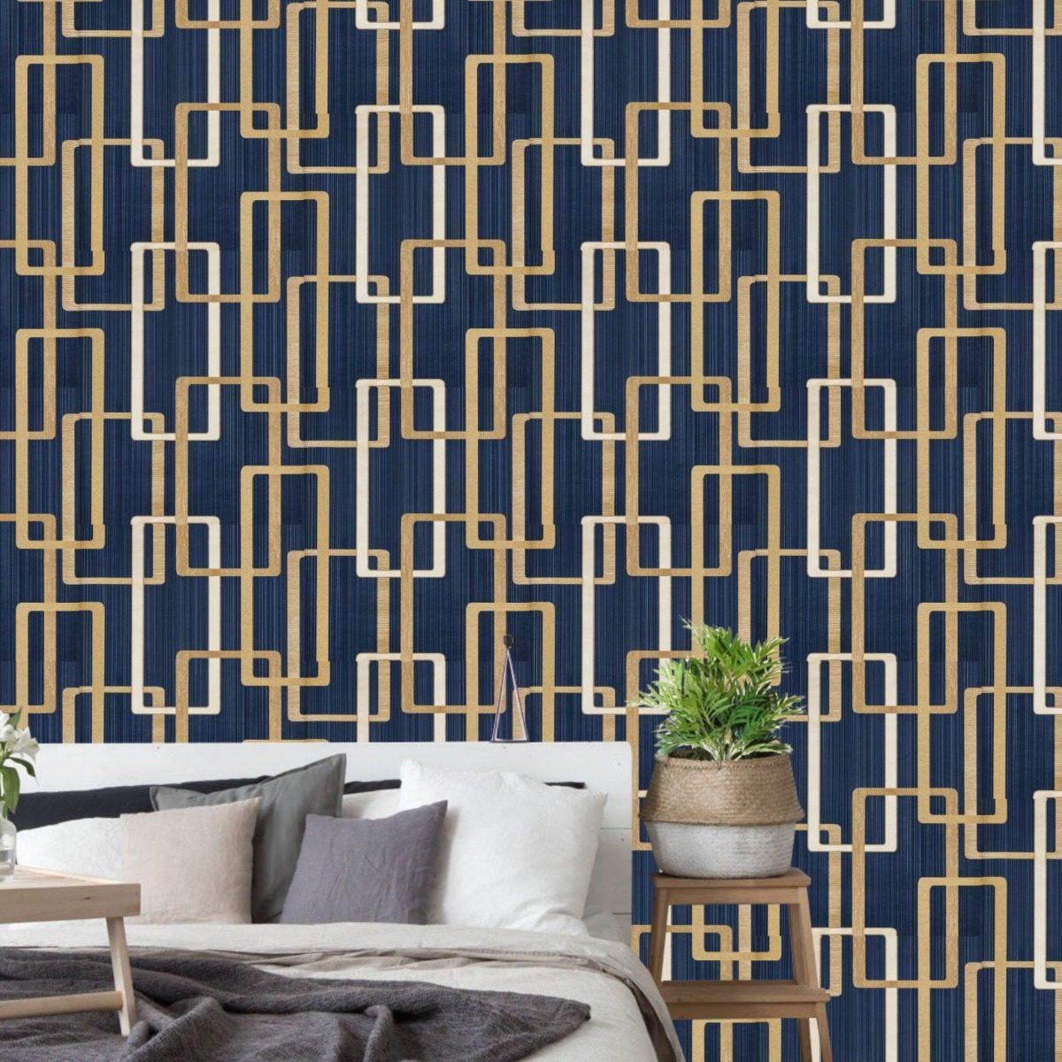 Papel de parede azul quarto masculino homem jovem moderno - Papel pared moderno ...