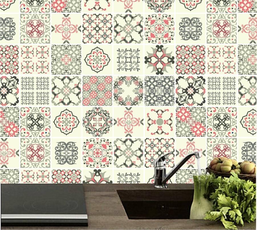 Papel de parede azulejo adesivo cozinha lav vel vin lico - Papel decorado para paredes ...