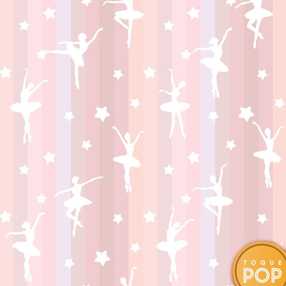 Papel de parede bailarina menina rosa infantil adesivo - Papel infantil para paredes ...