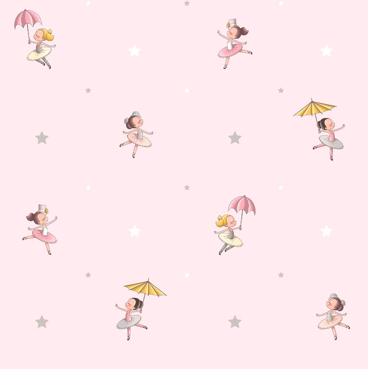 Papel de parede bailarina rosa r 250 00 em mercado livre for Papel para empapelar infantil