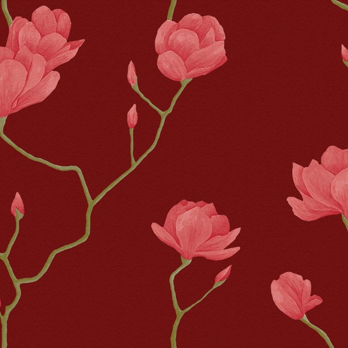 Papel De Parede Bobinex Natural Ref 1450 Vermelho Rosa Flor R 189  -> Modelos De Papel De Parede Em Forma De Flores