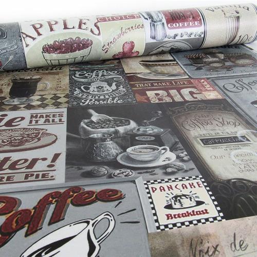 papel de parede breakfast vintage 0,58 x 3,00m 1 rolo