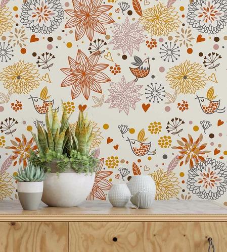 papel de parede c/ fundo branco e desenhos em laranja, lilás