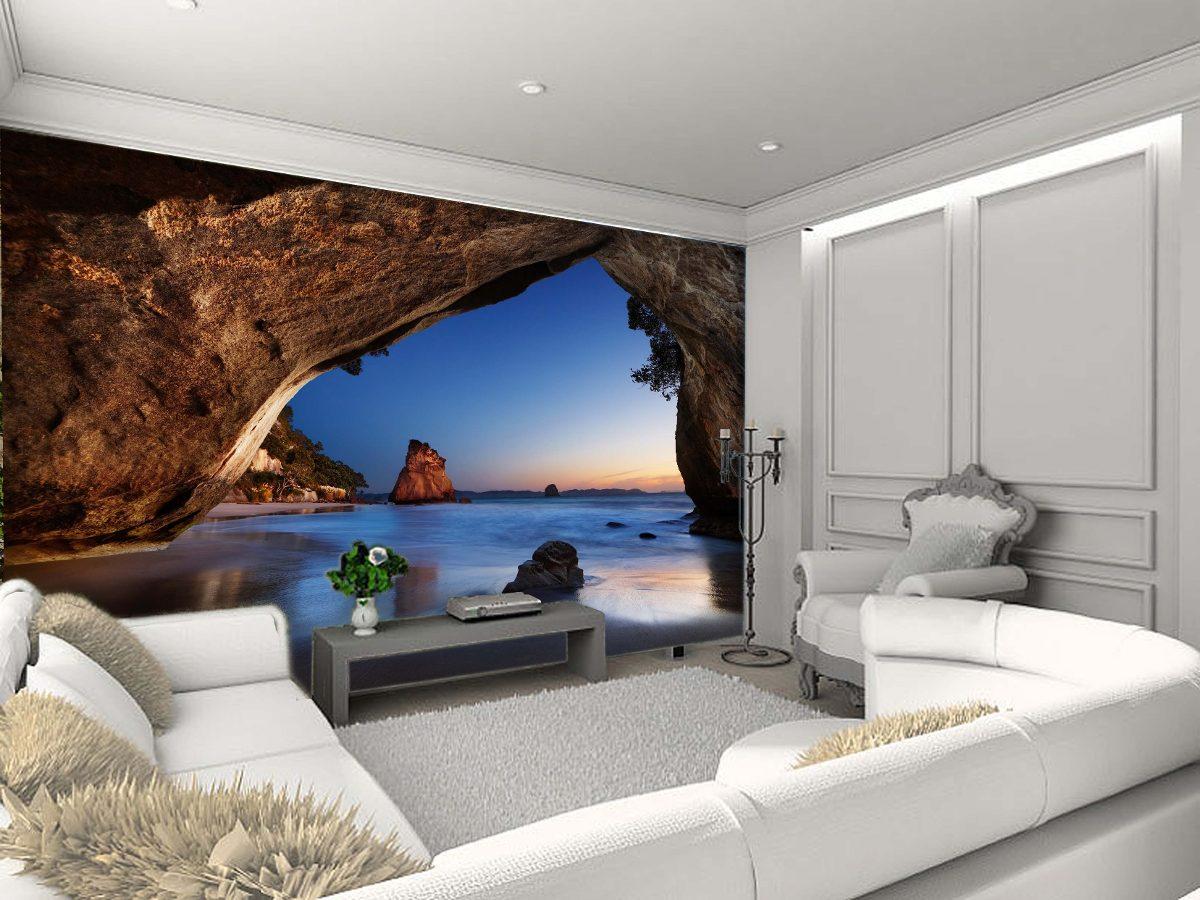 Papel De Parede Caverna Paisagens Natureza M R 45 00 Em  -> Papel De Parede Para Sala Quanto Custa