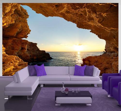 papel de parede cavernas paisagens natureza fosco luxo - m²