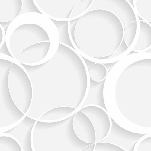 papel de parede círculos branco aspecto 3d  adesivo - 160