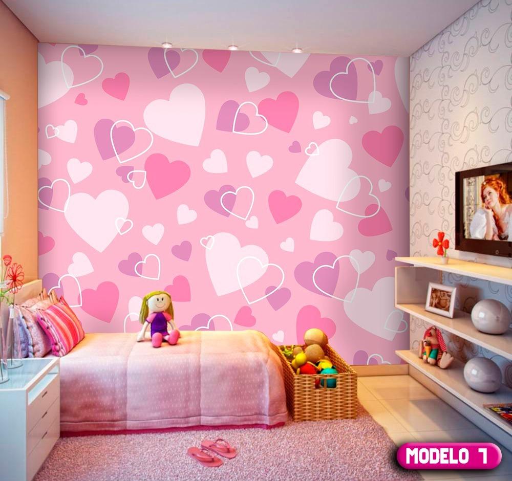 Papel de parede cora o quarto menina 10 modelos exclusivos r 15 90 em mercado livre - Papel infantil para pared ...