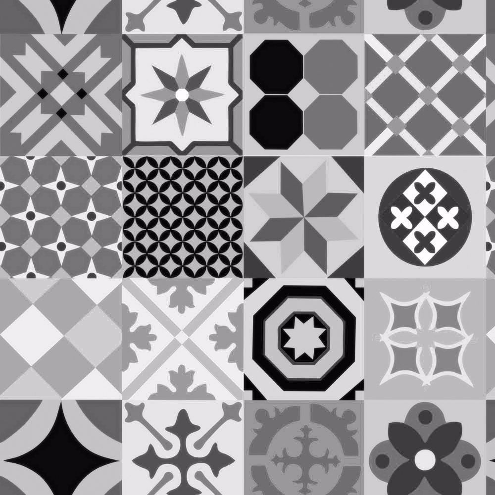 Papel de parede cozinha azulejo hidraulico cinza adesivo - Papel para azulejos de bano ...