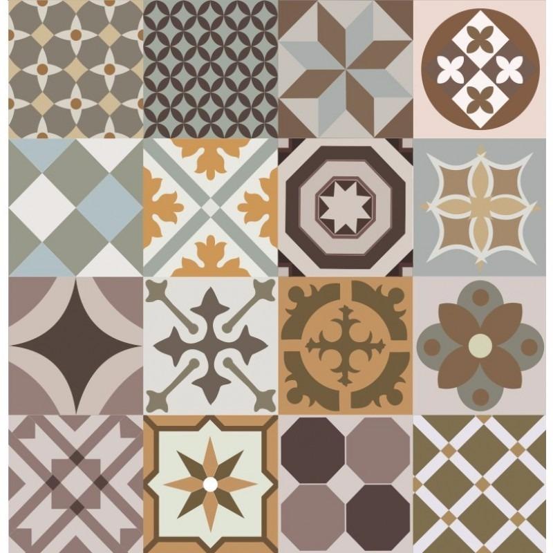 Papel de parede cozinha azulejo portugu s marrom bege kit for Mosaico adesivo 3d