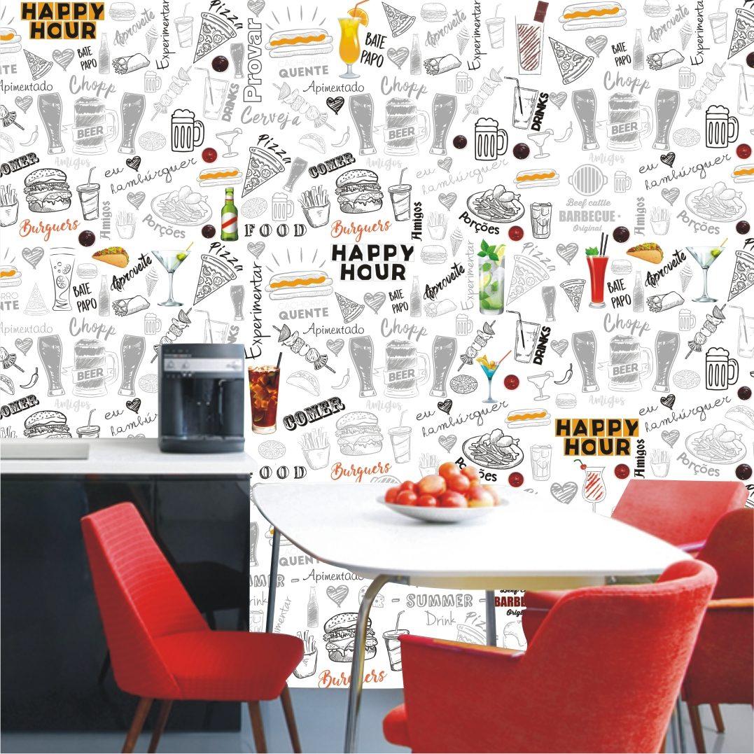 Papel De Parede Cozinha Bar Sala Gg Comida Bebida M110 R 299 00