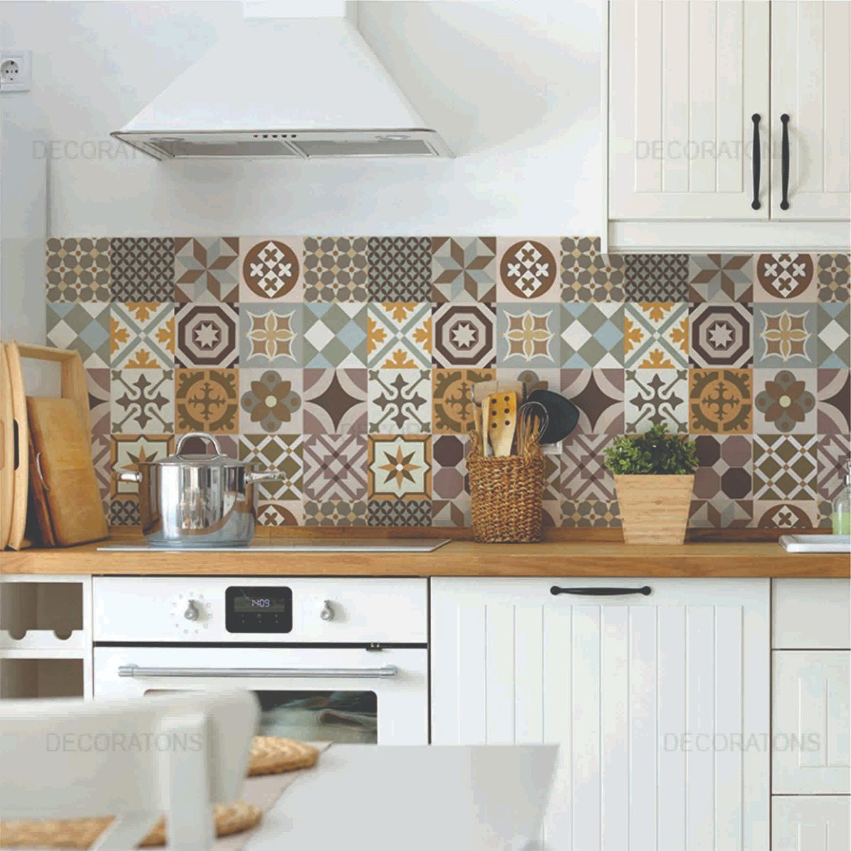 Papel de parede cozinha gourmet azulejo lav vel contact for Inodoro de azulejo de pared
