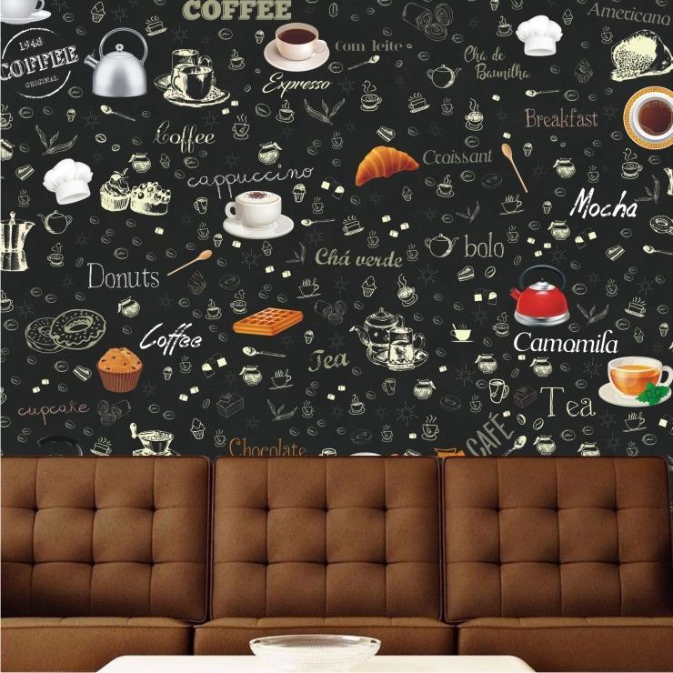 Papel de parede cozinha lav vel vin lico caf bar sala - Papel vinilico para paredes ...