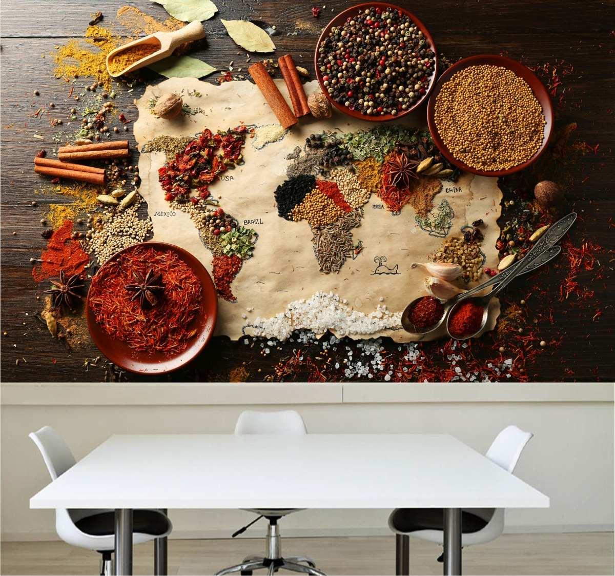 Papel de parede cozinha lav vel vin lico pimenta tempero - Papel vinilico para paredes ...